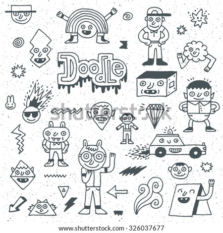 Various Abstract Funny Characters. Wacky Doodle Set 1. Vector Hand Drawn Illustration.  - stock vector