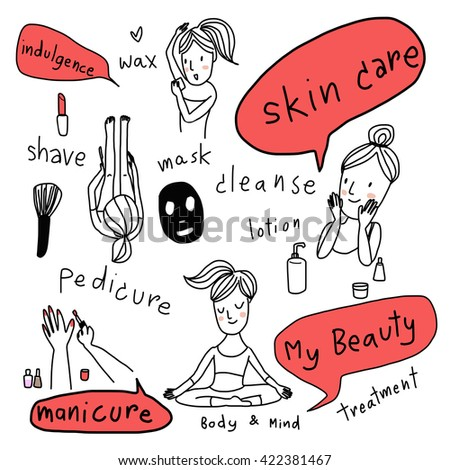 various actions of girl with her beauty treatment, skin care, shaving, waxing, manicure, pedicure and facial care included brush, lipstick,mask, lotion bottle vector-illustration. wording about beauty - stock vector