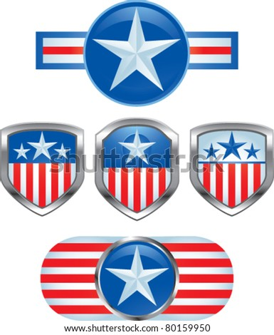 Various american pins - stock vector