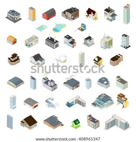 Various architectural building icons.  Vector isometric illustration of a variety of buildings. - stock vector