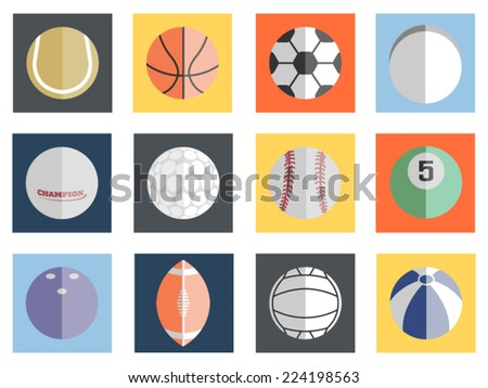 VARIOUS BALLS FLAT DESIGN - stock vector