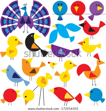 Various birds to add to your designs - stock vector