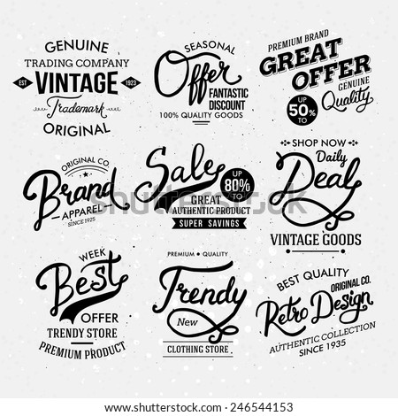 Various Black and White Artistic Fashion Labels, Emphasizing Different Font Styles. Vector illustration. - stock vector
