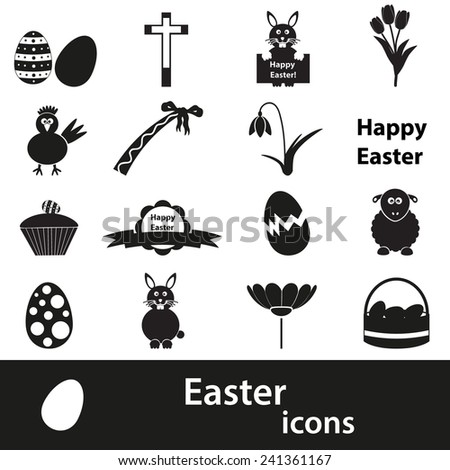 various black Easter icons set eps10 - stock vector