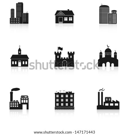 various buildings icons - stock vector