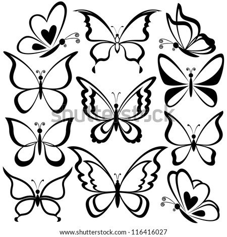 Various butterflies, black contours on white background. Vector - stock vector