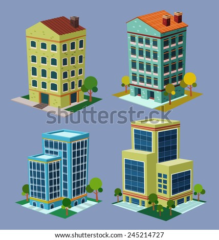 various cartoon style isometric building  - stock vector