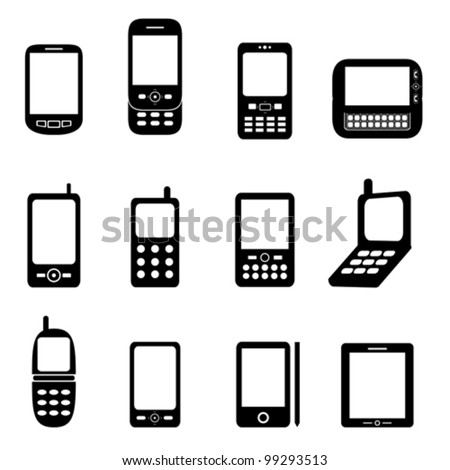 Various cell phones and tablets - stock vector