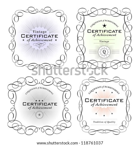various certificate templates on white background - stock vector