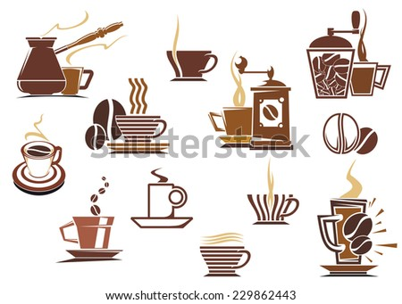 Various coffee icons in brown and white showing a coffee mill, percolator, cappuccino, latte, and assorted shaped mugs and cups of steaming coffee, vector illustration - stock vector