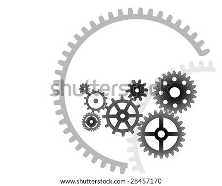 Various cogwheels, vector, industrial background - stock vector