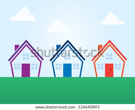 Various colored outline abstract houses - stock vector