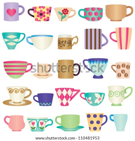 Various colorful cups - stock vector