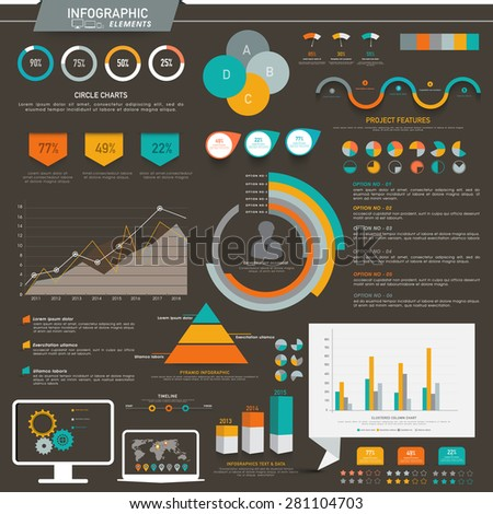 Various colorful infographic elements including statistical charts and graphs for presenting your professional data effectively. - stock vector