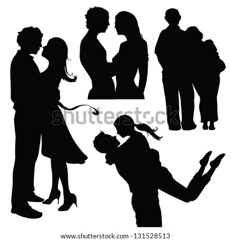 various couples in love silhouettes - stock vectorCouple Silhouette Hugging