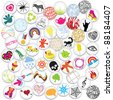 Various cute pin badges - stock vector
