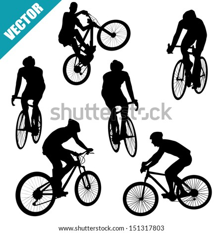 Various cycling poses of cyclists silhouettes on white background, vector illustration - stock vector