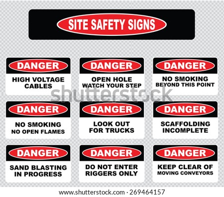various danger sign, site safety signs (high voltage cables, open hole watch your step, no open flame, no smoking, look out for trucks, scaffolding incomplete, sand blasting in progress, riggers only) - stock vector