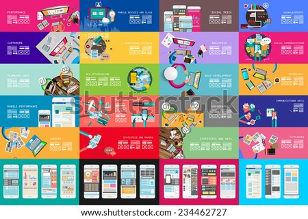 Various Designs: Ideal Workspace for teamwork and brainsotrming with Flat style. A lot of design elements are included: computers, mobile devices, desk supplies, pencil,, sheeets,documents and so on - stock vector