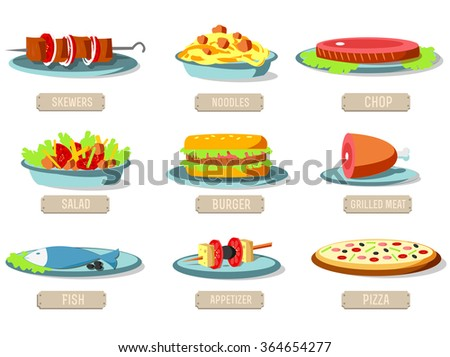Various dishes icons set concept. Vector illustration design. Template for website and mobile appliance - stock vector