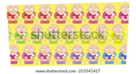 Various emotions children on the toilets - stock vector
