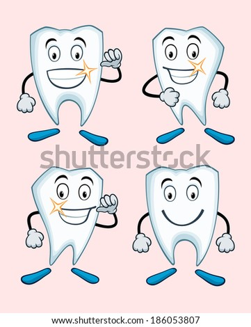 various expressions of healthy teeth - stock vector