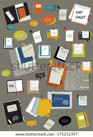 Various folders, stickers, data and bubbles set. Vector background. Work office web layout. Colorful graphic templates.  - stock vector