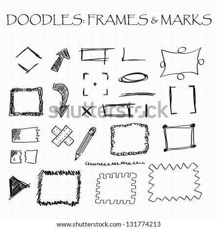 Various frames, markers and arrow doodles - stock vector