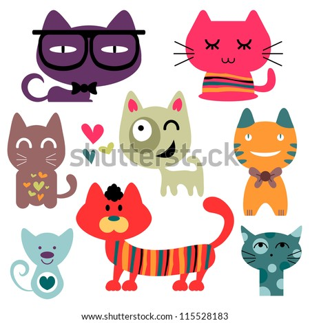 Various funny cats set - stock vector
