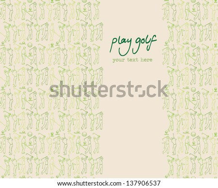 Various golf images & player seamless background - stock vector