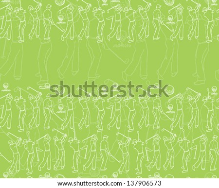 Various golf player seamless background - stock vector