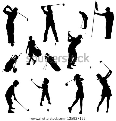 Various golfers in silhouettes. Adults and children in this set. - stock vector