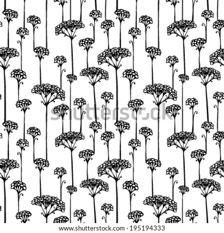 Various grass and floral elements for your design. Black silhouettes on white background. Seamless texture. Nature template. - stock vector