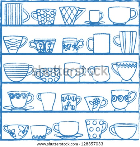 Various hand drawn cups and mugs on shelves - stock vector