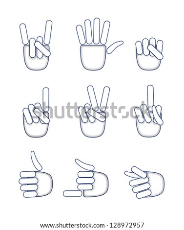 Various hand gestures are shown in the picture. - stock vector