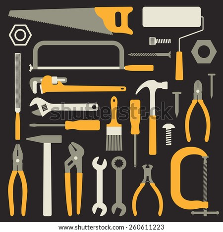 Various hand tools vector silhouette icons on black background - stock vector