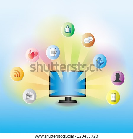 Various IT signs spreading from the computer network - stock vector