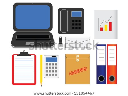 various kind of office supplies in vector - stock vector