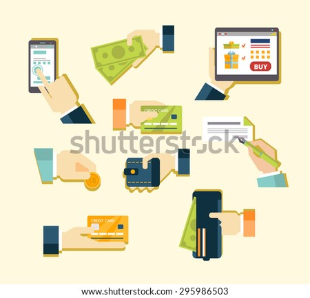 Various methods of payment Fee for card , cash , payment on the internet , money order, check. Vector illustration of a flat - stock vector