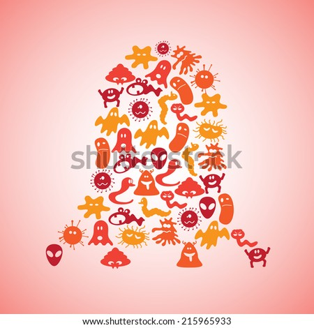 various monsters icons eps10 - stock vector