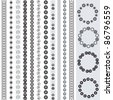 Various motifs - black and white - stock vector