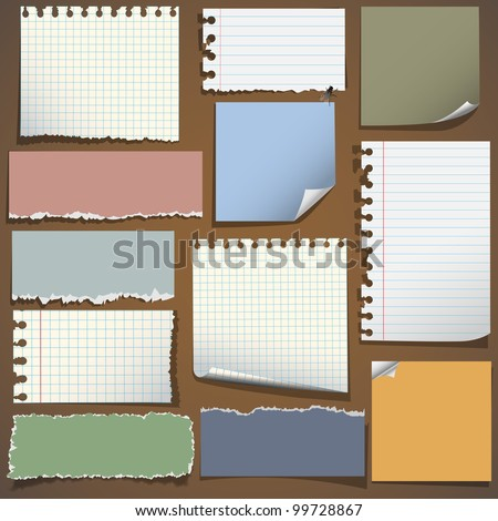 Various notes paper.Vector set,eps10 - stock vector