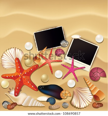 Various objects on the sand, Seashells, snails, pearls, polaroid.  Vector Illustration. - stock vector