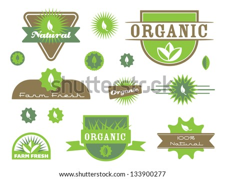 Various  Organic Badges and Icons. - stock vector