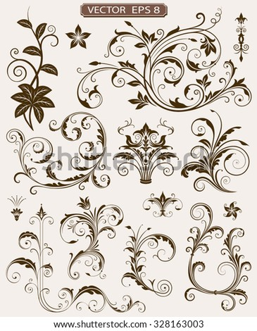 Various ornate scroll design elements vector illustration. Saved in EPS 8 file with all separated elements, very well designed for easy editing. - stock vector