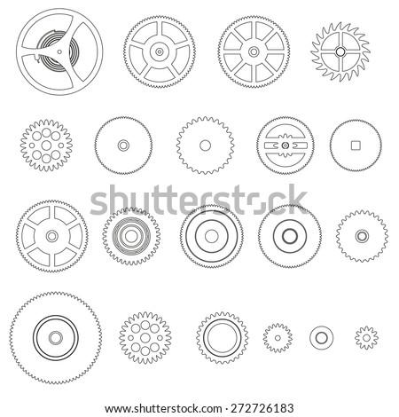 various outline cogwheels parts of watch movement eps10 - stock vector
