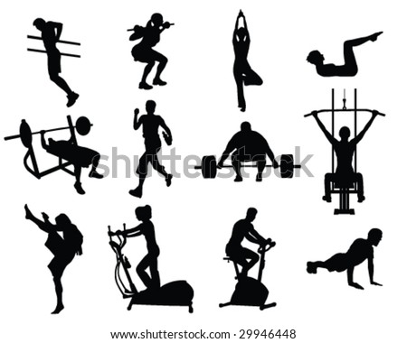 Various people working out - stock vector