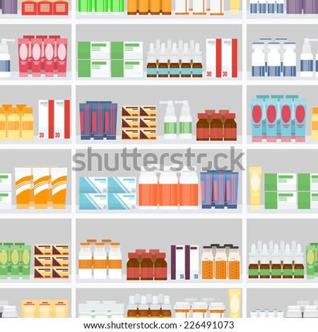 Various Pills and Drugs For Sale Display on Pharmacy Shelves. Designed in Seamless Gray Background. - stock vector