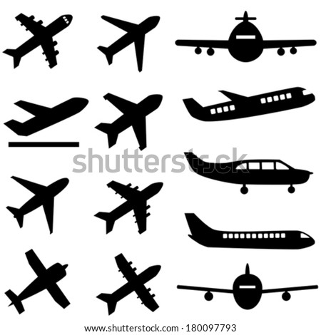Various planes in black - stock vector