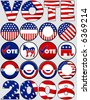 Various Political Buttons and Icons - stock vector